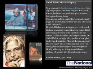 Abdul Kalam left a rich legacy