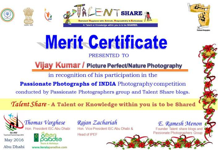 Certificate for participants Passionate Photographs of India 2016 for printing - Vijay Kumar