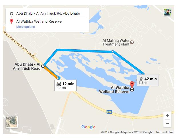 Al WAthba Wetland Reserve map