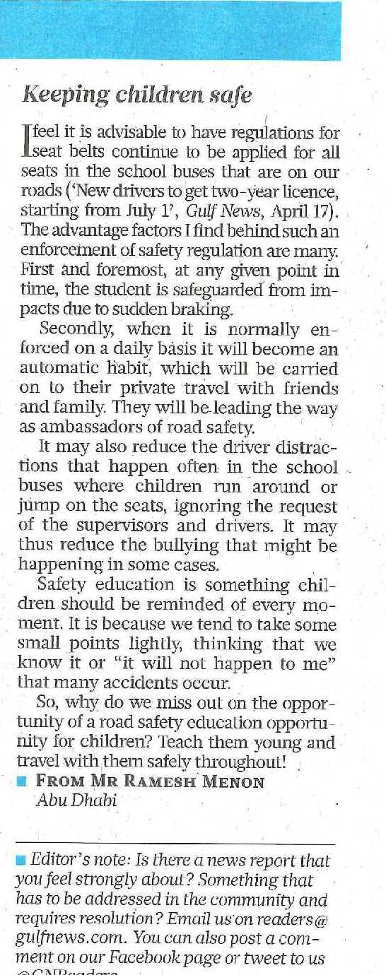 24-04-2017 Gulf News - Keeping Children Safe